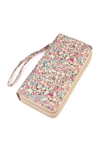 S6-5-1-AHDG1931PU PURPLE FLORAL DOUBLE ZIPPER WALLET/6PCS