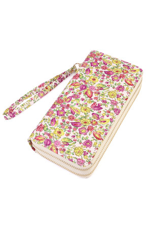S6-5-1-AHDG1931YW YELLOW FLORAL DOUBLE ZIPPER WALLET/6PCS