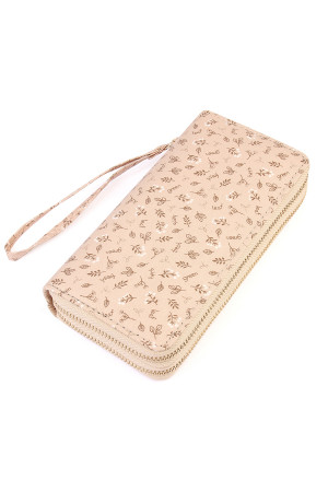 S6-5-1-AHDG1932BG BEIGE FRESH GREEN HERB DOUBLE ZIPPER WALLET/6PCS