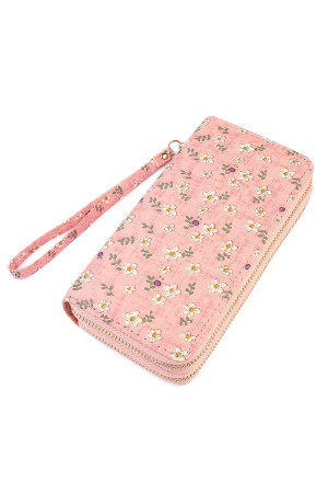 S6-6-1-AHDG1933PK PINK FLORAL DOUBLE ZIPPER WALLET/6PCS