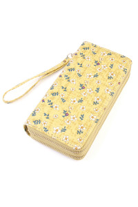 S5-6-1-AHDG1933YW YELLOW FLORAL DOUBLE ZIPPER WALLET/6PCS