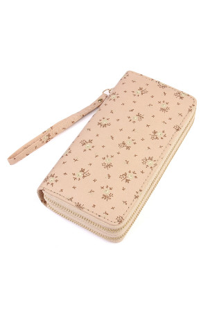 S5-4-1-AHDG1935BG BEIGE FLORAL DOUBLE ZIPPER WALLET/6PCS