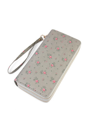S6-5-1-AHDG1935GY GRAY FLORAL DOUBLE ZIPPER WALLET/6PCS