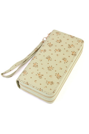 S6-6-1-AHDG1935MN MINT FLORAL DOUBLE ZIPPER WALLET/6PCS