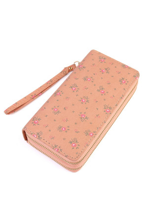 S6-6-1-AHDG1935OR ORANGE FLORAL DOUBLE ZIPPER WALLET/6PCS