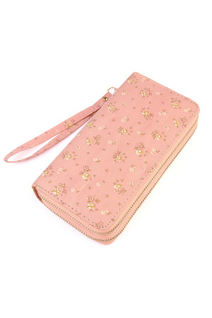 S5-4-1-AHDG1935PK PINK FLORAL DOUBLE ZIPPER WALLET/6PCS