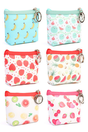 S7-5-4-AHDG1944MIX  ASSORTED FRUIT PRINT COIN PURSE/6PCS