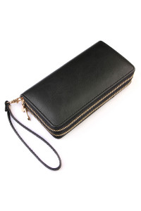 S2-10-1-HDG2000BK BLACK DOUBLE ZIPPER WALLET/6PCS