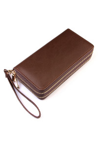 S2-8-1-HDG2000BR BROWN DOUBLE ZIPPER WALLET/6PCS