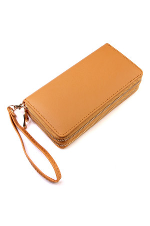 S6-6-1-AHDG2000CM CAMEL DOUBLE ZIPPER WALLET/6PCS