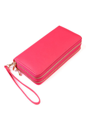 S5-4-1-AHDG2000FS FUCHSIA DOUBLE ZIPPER WALLET/6PCS