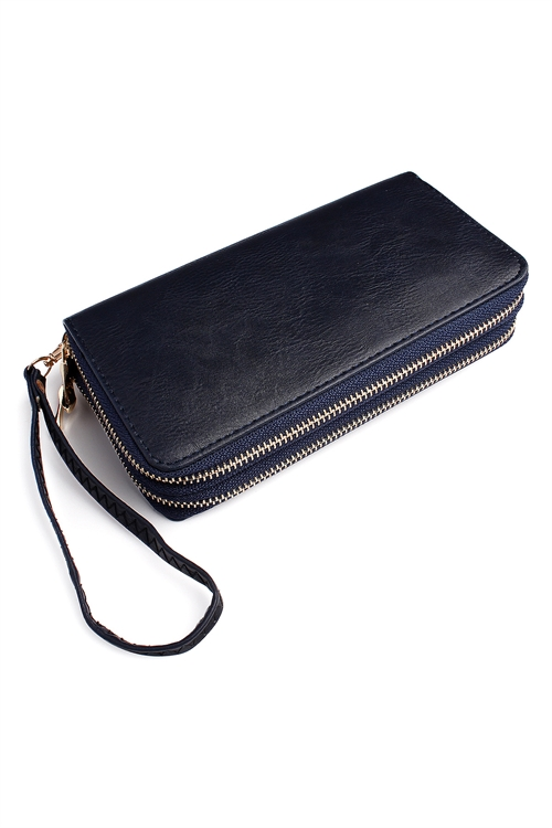 S1-P23/S1-P20-HDG2000NV NAVY DOUBLE ZIPPER WALLET/6PCS