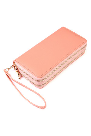 S6-6-1-AHDG2000PK PINK DOUBLE ZIPPER WALLET/6PCS