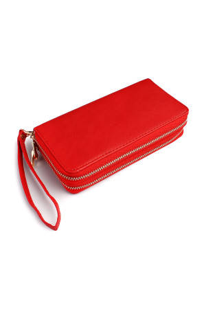 S7-5-5-AHDG2000RD RED DOUBLE ZIPPER WALLET/6PCS