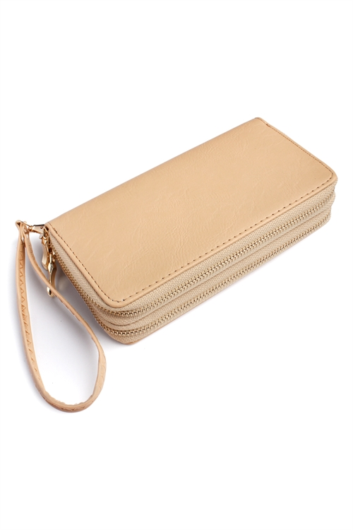 SA3-3-2-AHDG2000SD NATURAL DOUBLE ZIPPER WALLET/6PCS