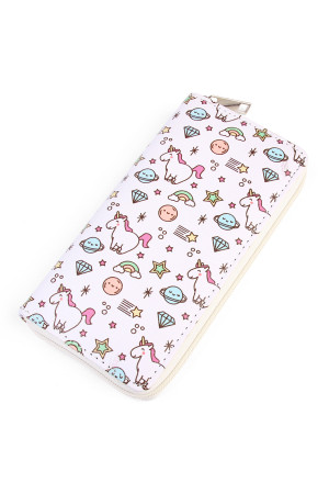 S5-5-2-AHDG2001 UNICORN PRINT SINGLE ZIPPER WALLET/6PCS