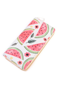 S5-5-3-AHDG2017 WATERMELON PRINT SINGLE ZIPPER WALLET/6PCS