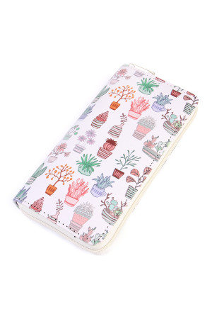 S5-6-1-AHDG2023 PLANT PRINT SINGLE ZIPPER WALLET/6PCS
