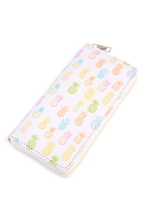 S3-6-2-AHDG2026 PINEAPPLE PRINT SINGLE ZIPPER WALLET/6PCS