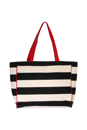 S3-5-2-AHDG2039BK- STRIPED SHOULDER BAG-BLACK/6PCS