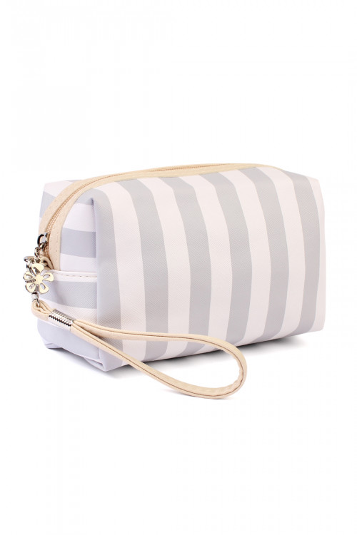 211-3-4-AHDG2061GY GRAY  RECTANGULAR STRIPED COSMETIC BAG/6PCS