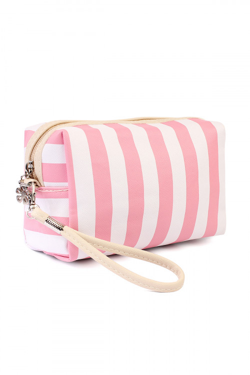 S4-6-1-AHDG2061PK PINK RECTANGULAR STRIPED COSMETIC BAG/6PCS