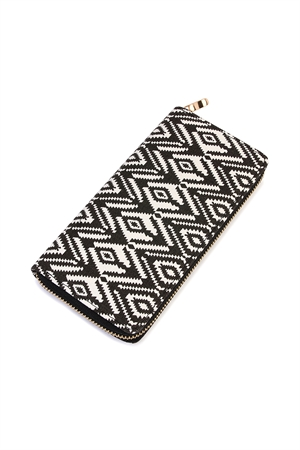 S7-6-1-AHDG2131BK BLACK CHEVRON ZIPPER WALLET/6PCS