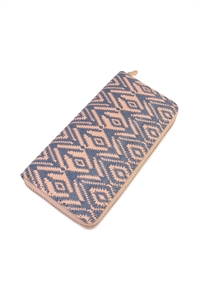 S4-4-5-AHDG2131BL BLUE CHEVRON ZIPPER WALLET/6PCS