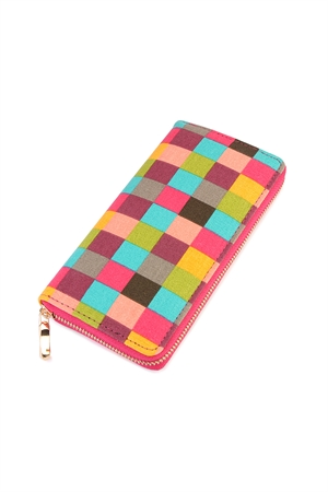 S6-5-1-AHDG2132-1 FUCHSIA MULTI CHECKERED ZIPPER WALLET/6PCS