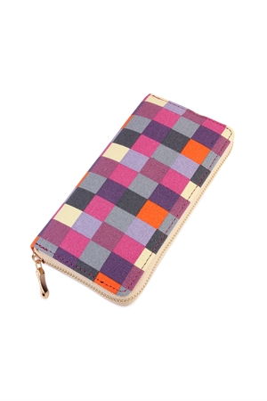 S6-4-1-AHDG2132-3 PURPLE MULTI CHECKERED ZIPPER WALLET/6PCS