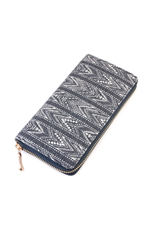 S4-4-5-AHDG2133NV NAVY LACE PATTERN PRINTED ZIPPER WALLET/6PCS