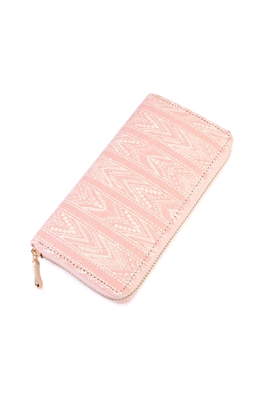 S6-5-1-AHDG2133PK PINK LACE PATTERN PRINTED ZIPPER WALLET/6PCS