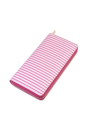 S6-6-1-AHDG2134HPK HOT PINK SIMPLE STRIPED ZIPPER WALLET/6PCS