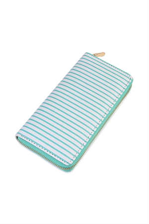 S6-5-1-AHDG2134MN MINT SIMPLE STRIPED ZIPPER WALLET/6PCS