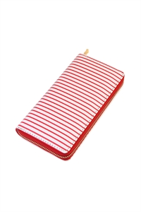 S6-6-1-AHDG2134RD RED SIMPLE STRIPED ZIPPER WALLET/6PCS