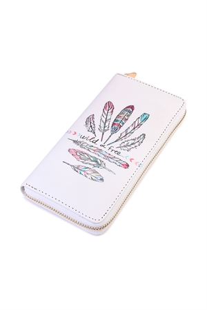S6-5-1-AHDG2136 WILD AND FREE BOHO PRINT ZIPPER WALLET/6PCS