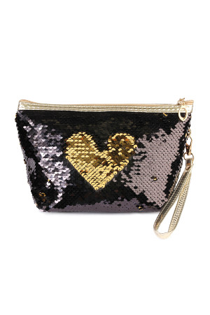 S7-6-5-AHDG2141BKGD BLACK GOLD HEART SEQUIN COSMETIC BAG/6PCS