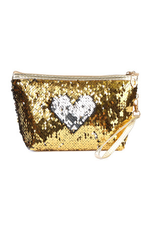 S6-5-5-AHDG2141GDSL GOLD SILVER HEART SEQUIN COSMETIC BAG/6PCS