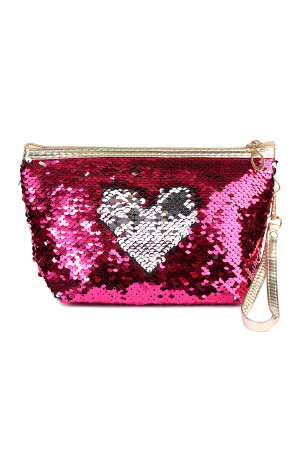 S6-5-5-AHDG2141HPKSL HOT PINK SILVER HEART SEQUIN COSMETIC BAG/6PCS