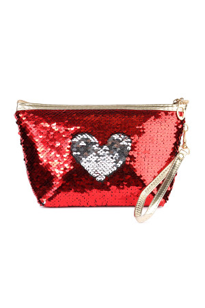 S7-6-5-AHDG2141RDSL RED SILVER HEART SEQUIN COSMETIC BAG/6PCS