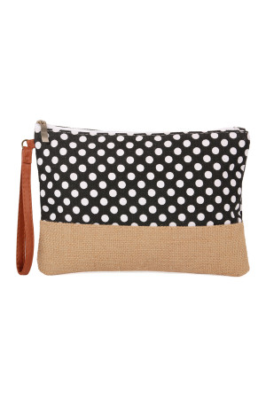 S7-5-1-AHDG2261BK BLACK POLKA DOT COSMETIC POUCH/6PCS