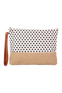 S4-6-1-AHDG2261WT WHITE POLKA DOT COSMETIC POUCH/6PCS