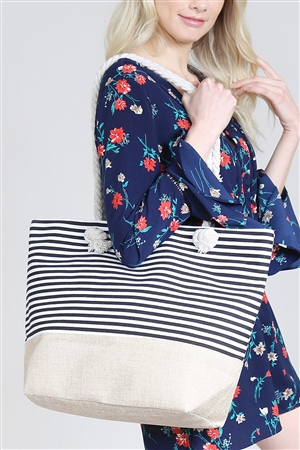 S4-4-5-AHDG2263BK BLACK STRIPED TOTE BAG/6PCS