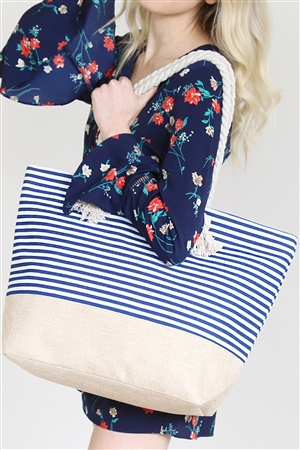 SA4-2-5-AHDG2263NV NAVY STRIPED TOTE BAG/6PCS