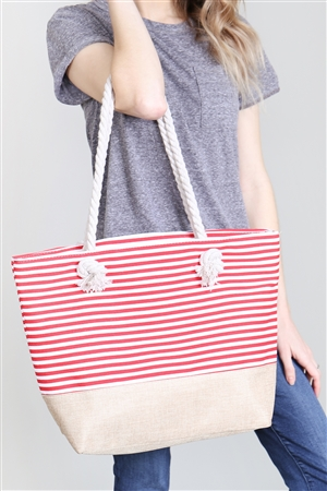 SA4-2-5-AHDG2263RD RED STRIPED TOTE BAG/6PCS