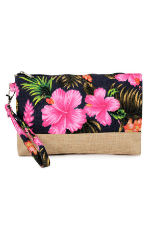 S5-4-5-AHDG2265BK BLACK GUMAMELA HIBISCUS FLOWER WRISTLET COSMETIC BAG/6PCS