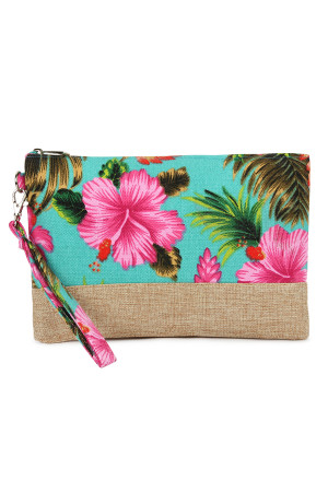 SA4-2-5-AHDG2265BL BLUE GUMAMELA HIBISCUS FLOWER WRISTLET COSMETIC BAG/6PCS