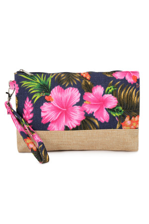 SA4-2-5-AHDG2265NV NAVY GUMAMELA HIBISCUS FLOWER WRISTLET COSMETIC BAG/6PCS
