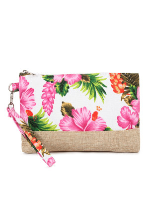 SA4-2-5-AHDG2265WT WHITE GUMAMELA HIBISCUS FLOWER WRISTLET COSMETIC BAG/6PCS