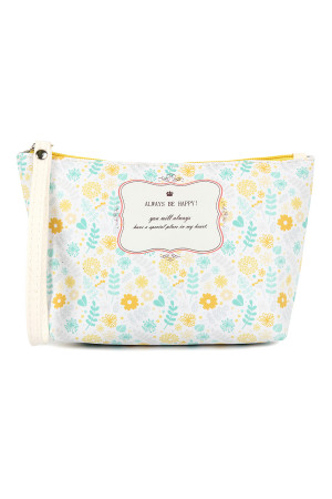 SA4-1-5-AHDG2276-3 ALWAYS BE HAPPY FLORAL WRISTLET COSMETIC BAG/6PCS